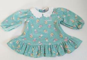 RARE Vintage Oshkosh Bgosh Corduroy Dress USA 12M Girls Collar Ruffle BUNNIES