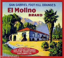 San Gabriel San Marino El Molino #1 Orange Citrus Fruit Crate Label Art Print