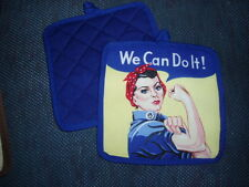 """1 Handcrafted Potholder - ROSIE THE RIVETER, 8""""x8"""""""