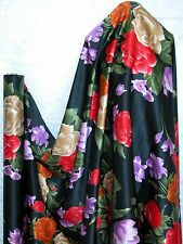 Pure Silk Charmeuse Fabric Black Red Bold Flower Per Yard