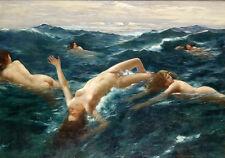 "Dream-art nudes oil painting young girl swimming & ocean waves - Mermaids 36"""