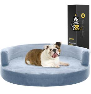 Kopeks Dog Bed Round Deluxe Orthopedic Memory Foam Sofa Lounge Large Gray Grey L