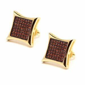 Mens 14K Gold Plated Red CZ Micro Pave Hip Hop Kite Stud Earrings