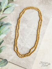 """NEW MUSTARD YELLOW 60"""" DOUBLE BEADED NECKLACE BY SOUTHERN JUNKIE"""
