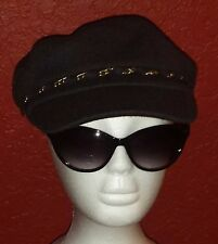 HAT ATTACK NWT $54 denim blue with gold chain wool newsboy hat cap one size