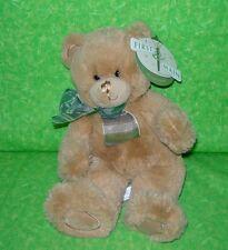 "First & Main DEAN Tan Teddy Bear Plush Green White Ribbon 10"" Stuffed Animal NEW"