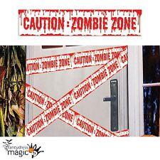 Precaución Zombie Zona Cinta De Sangre Horror Halloween Decoración Utilería Fiesta Partyware