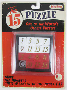 FIFTEEN 15 PUZZLE Number Slide Sliding Brain Teaser Classic IQ Test Toy Game