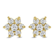 Round D/VVS1 Flower Stud Earrings 14k Yellow Gold Over 925 Sterling Silver