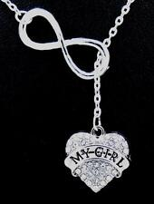 New Infinity My Girl Heart Austrian Crystal Charm Pendant Silver Necklace L99