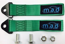 2 x GREEN M.A.D 280MM TOW STRAP LOOP RECOVERY HOOK TRACK DAY RACE CAR DRIFT