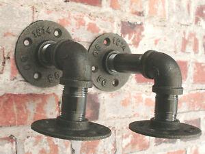 Industrial Steel Pipe Shelf Bracket Holder DIY 1 Pair