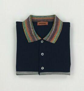 Men's Navy Blue Striped Missoni Polo Shirt Medium Long Sleeved Space Dye Rare A*