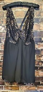 Lane Bryant Cacique Sexy Babydoll Sheer Chemise Nightgown BLACK Gold 26/28 NWOT