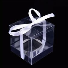 50*Clear PVC Square Gift Boxes Favor Candy Packings Souvenir Box Transparent NE8