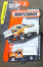 2014 Matchbox On A Mission 114-120 Orange White Ford F-350 Stake Bed Truck MBX C