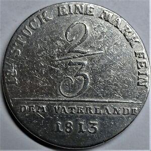 Preussen 1813  2/3 Taler Silber -Mecklenburg-Schwerin Fried-Fr. fast-vz + Kapsel
