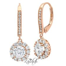 3.5 ct Brilliant Round Halo Drop Dangle Leverback Earrings Solid 14k Rose Gold