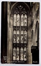 St Mary Redcliffe Church window Bristol, England vintage Real Photo Postcard