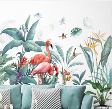 Wall stickers Tropical Plant Leaves Flamingo Decal Art Nursery Removable  Decor