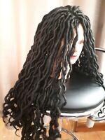 Faux Locs Crochet Wig Goddess Curly Hair Dreadlock Carnival Festival Dark Brown