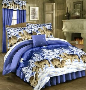 MIDNIGHT WOLVES Bed In Bag Howling Pack Wolf Bedding Blue Comforter & Sheet Set