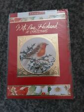 Husband Christmas Card BNIP - robin