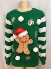 Ugly Christmas Sweater XL Juniors 15-17 Gingerbread Man Plush Sequins Pom Poms