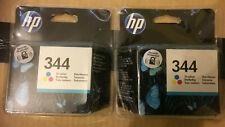 Genuine HP 344 C9363E Tri-Colour Ink Cartridges X2 Dated 03/2019