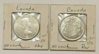 CANADA 2 LOT 50 CENT COINS SILVER 1956 & 1961