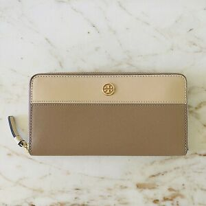 TORY BURCH Solid Tan Beige Color Block Leather Zip Continental Wallet