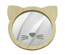 CAT SHAPED WALL MOUNTING MIRROR WITH NOSE AND WHISKERS 22CM X 21CM X 1.5CM