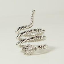 Diamond Ring G Si1 Natural - Flexible 0.60 Tcw Pave Set 14K White Gold Snake