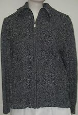 Women's SWEATER Cardigan Zipper Alia Petite M long sleeve Pockets Collar Gray