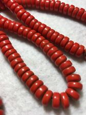 "Long 30.5"" Vintage 9 mm Red Opaque Glass Disc/Spacer Trade Bead Strand"