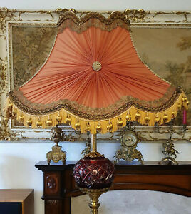 75 cm Huge Silk Lined Victorian Pink Chiffon with Gold Tassels Fringed Lampshade