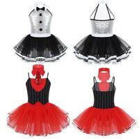 Girls Kids Ballet Dance Dress Sequins Latin Gymnastic Leotard Tutu Skirt Costume