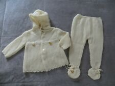 Silver Spoon Spain Baby Vintage Yellow Duckies Fuzzy Trim Footie Pants Sweater