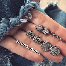Bow Push Back Earrings Jewelry Set 5 Pair Women Elegant Crystal Crown Letter