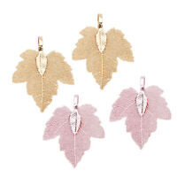 4Pack Natural Real Filigree Leaf Charms Pendant for DIY Jewelry Making Craft