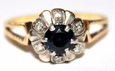 vintage 18 ct yellow gold sapphire & diamond daisy ring size P 1/2