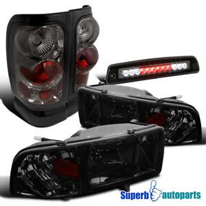 For 1994-2001 Dodge Ram 1500/2500/3500 Smoke Headlights+Tail Lamps+LED 3rd Brake