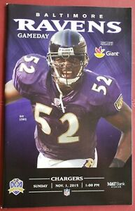 BALTIMORE RAVENS 2015 NFL GAME PROGRAM vs CHARGERS, RAY LEWIS