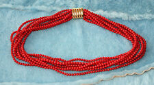 VTG RED natural dyed  CORAL 8-STRAND TORSADE BEAD NECKLACE 76 GRAMS