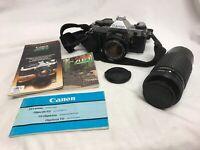 Vintage Canon AE-1 Program 35mm SLR Camera 50mm 1:1.8 Lens & Manuals Zoom Lens