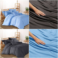 Plain Duvet Quilt Cover & Pillow Case Single Double King Polycotton Bedding Set