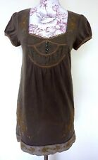 Next With Love Ladies Floral Embroidered Dark Green Dress Size UK 12