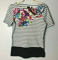 Rafaella Women's Top Size Medium 100% Cotton Floral Stripes Short Sleeves