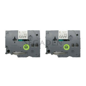 2pk Black on Transparent Label Tape Fit for Brother PTouch TZ TZe 111 6mm