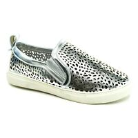 JC Womens Kenzo Slip On Sneaker Size 5.5 Silver Perforated Cushion Footbed NEW